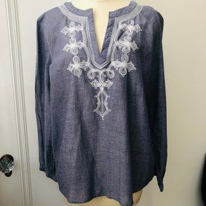 J. Crew Tunic Top Chambray w/ White Embroidery